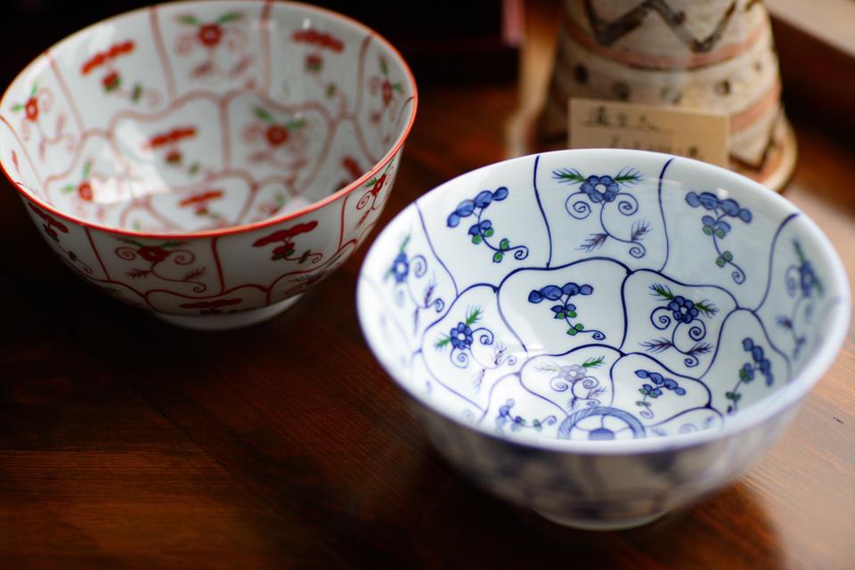 赤絵なずな紋 麺鉢・染錦なずな紋 麺鉢