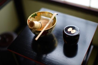 京焼 如山窯 金箔立田川 抹茶碗