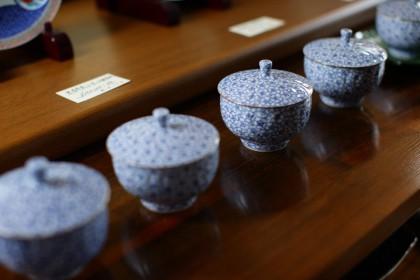 京焼 壹陶窯 染桜蓋付お茶呑茶碗 揃い五客