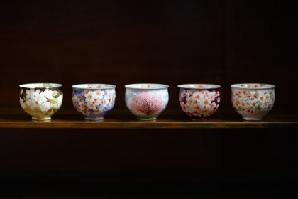 幽玄桜(ゆうげんざくら) お茶吞茶碗 五客揃